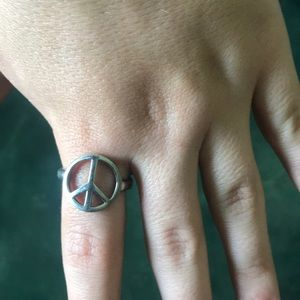 Size 12 1/2 silver peace sign ring